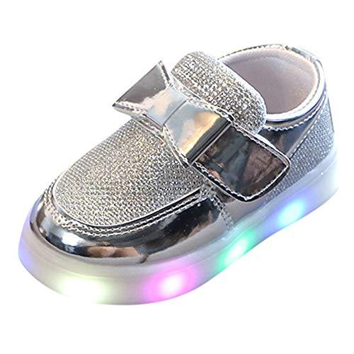 the best attitude e00c6 77993 Filles Sneaker Basket Chaussures Mode Princesse LED Lumineux Strass  Brillant Bowknot, QinMM Enfants Chaussures Bateau