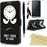 LG G3 Funda Libro de PU Leather Cuero Ventana View- Mavis's Diary Funda para móvil Carcasa Con Flip case cover,Cierre Magnético,Función de Soporte,Billetera con Tapa para Tarjetas-Color de ojos negros
