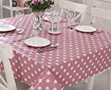 Vinylla Polka Dot Pink Easy Wipe Clean PVC Tablecloth Oilcloth