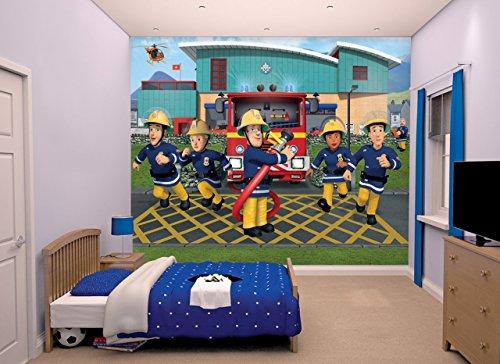 Walltastic Sam, der Feuerwehrmann, Tapete, Wandbild, Papier, Multi, 8 x 10 ft -