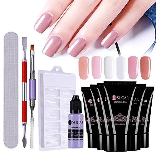 r uv gel Master Kit All-in-One Poly UV Gel Maniküre Set -6Pcs 30ml Quick Building Gel, 100pcs Nail Tips Mold, Slip Solution+Werkzeug Kit ()