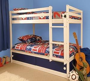 Boys Slide Storage White Wooden Bunk Bed with Blue Sliding Doors