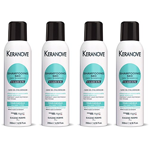 Kéranove Shampoo für Reispulver, ohne Aluminium, Immefrische Frische, ohne Spülen, 200 ml, 4 Stück