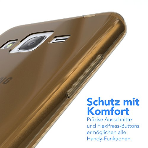 Samsung Galaxy J3 Hülle - EAZY CASE Ultra Slim Cover Handyhülle - dünne Schutzhülle aus Silikon in Grün Clear Braun