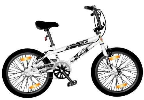 LA   BICICLETA BMX DE 26 CM  RUEDA DE 20  COLOR BLANCO