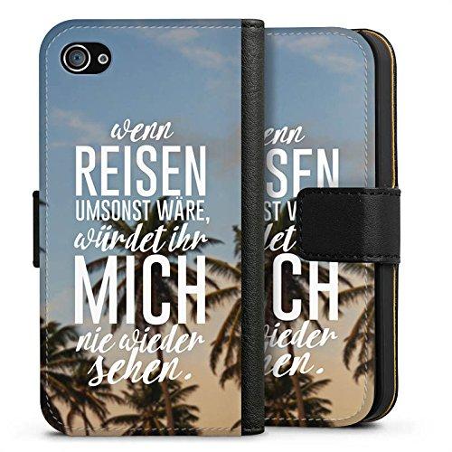 Apple iPhone X Silikon Hülle Case Schutzhülle Reise Palmen Urlaub Sideflip Tasche schwarz