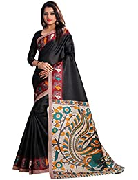 JENCY FASHION Kalamkari 4 Silk Saree With Blouse (BLACK)