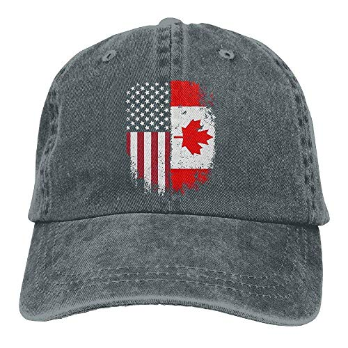 mens Baseball Cap Canadian American Flag Washed Denim Dad Hat for Women Army Cap ()