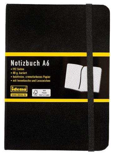 Idena 209282 - Notizbuch DIN A6, 192 Seiten, 80 g/m², kariert, schwarz