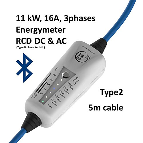 11KW, Typ 2 - mobile Ladestation für Elektroauto, Ladeneinheit 16A, Notladekabel mit integrierter Wallbox, 3-Phasenladung Proteus-NRGkick 16A - Bluetooth, Energiemesseinheit, FI Schutzmechanismus Typ B Charakteristik