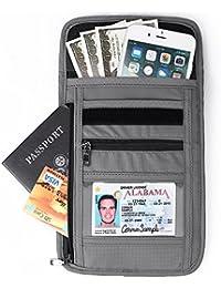 Travel Passport RFID Blocking Neck Wallet Hombres Holder para documentos, boletos, tarjeta de crédito, teléfono móvil