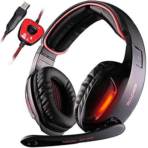 SADES SA902 7.1 Surround Sound Pro stéréo USB Gaming Headset Bandeau Casques avec microphone Deep Bass Over-the-Ear Volume Control Lumières pour les joueurs PC LED (Noir)