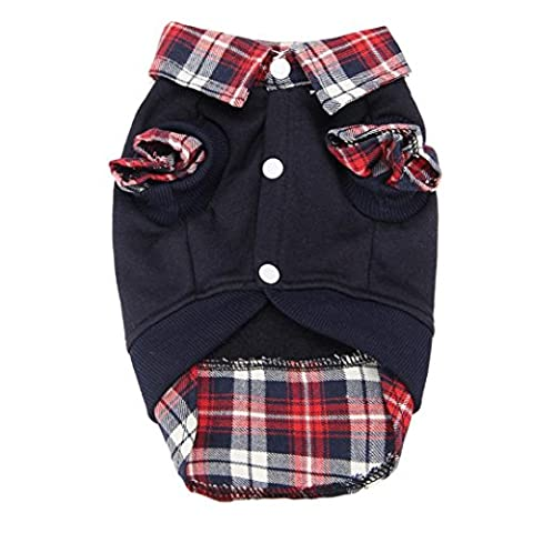 Shinmax Dog Cat Grid Sweater Puppy Warm Coat T-Shirt Pet Clothes POLO Shirt Dog Apparel Plaid Shirt Model Bone Joint Banda Sleeves Joint Pet Dog Cat Puppy Clothes Apparel T Shirts O-Neck Sleeveless Strip Of Small Pet Puppy Dog Cat Soft Della Shirt Dresses (S (Back Length11.81