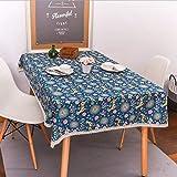 WJYdp Weihnachtsblaue Kitz-Tischdecke Heimtextilien Aus Baumwolle Und Leinen Hotel Restaurant Couchtisch Tuch Tuch,140X220CM
