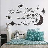 TYKCRt Etiqueta De La Pared We Love You To The Moon Y Back Art Vinyl S Calcomanías Mural Decoración para El Hogar 41X71 Cm