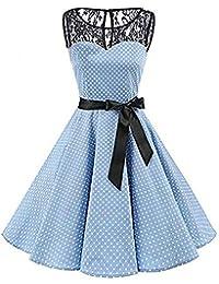 beautyjourney Vestido de Encaje sin Mangas con Efecto de Lunares, Gran tamaño Hepburn Vintage Vestido de Cintura Alta Plisado Vestidos de Noche Vestido de cóctel