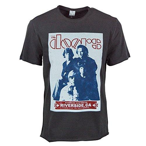 Amplified Offiziell The Doors Riverside Auditorium 1968 Retro T Shirt Holzkohle für Männer Holzkohle / Anthrazit