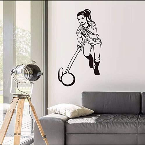Fushoulu 33X59 CmJugador De Hockey Femenino De Alta Calidad De Pared Mural De Vinilo Hollow Out Extraíble Autoadhesivo Hockey Deportes Pegatinas De Pared Sala