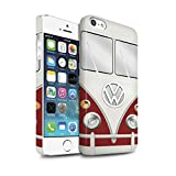 STUFF4 Matte Snap-On Hülle / Case für Apple iPhone 5/5S / Titan Rot Muster / Retro T1 Wohnmobil Bus Kollektion