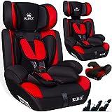 KIDIS Autokindersitz Kinderautositz Sportsline Gruppe 1+2+3 | 9-36 kg Autositz Kindersitz | Stabil und Sicher | Farbe Rot