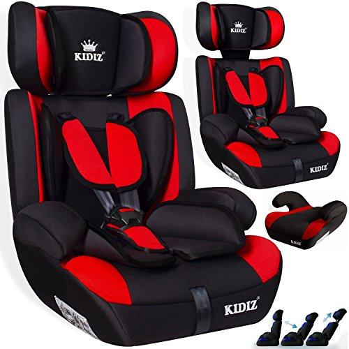 KIDIS® Autokindersitz Kinderautositz Sportsline Gruppe 1+2+3   9-36 kg Autositz Kindersitz   Stabil und Sicher   Farbe Rot
