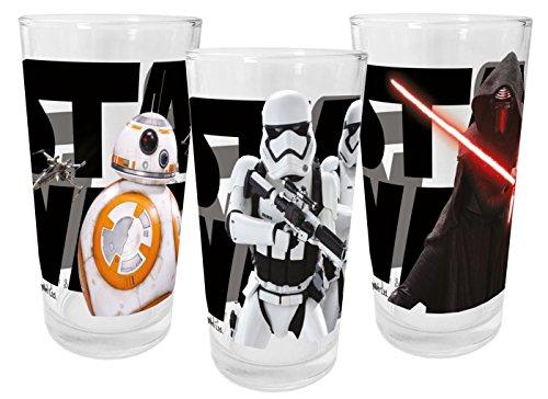 Star Wars Episode VII 200ml 3er Set Trinkgläser, Glas, Mehrfarbig, 27 x 6,5 x 12,5 cm, 3-Einheiten