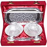 House Of Gifts (Combo Offer) Jaipur Unique Traditional German Silver Handmade Handi Double Bowl With Plate & Spoon Silver Set Of 5 Decorative Gift Item Home / Table / Wall Decor Showpiece / Figurine And 24K Gold Rose 10 Inch With Gift Box - Best Gift