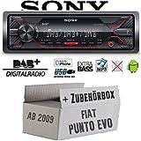 FIAT Punto Evo / 199 - Autoradio Radio Sony DSX-A310DAB - DAB+ | MP3/USB - Einbauzubehör - Einbauset