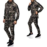 Herren Camouflage Jogginganzug Jogging Hose Jacke Sportanzug Anzug Hoodie 1159. (XS, 1159 CAMO GRÜN)