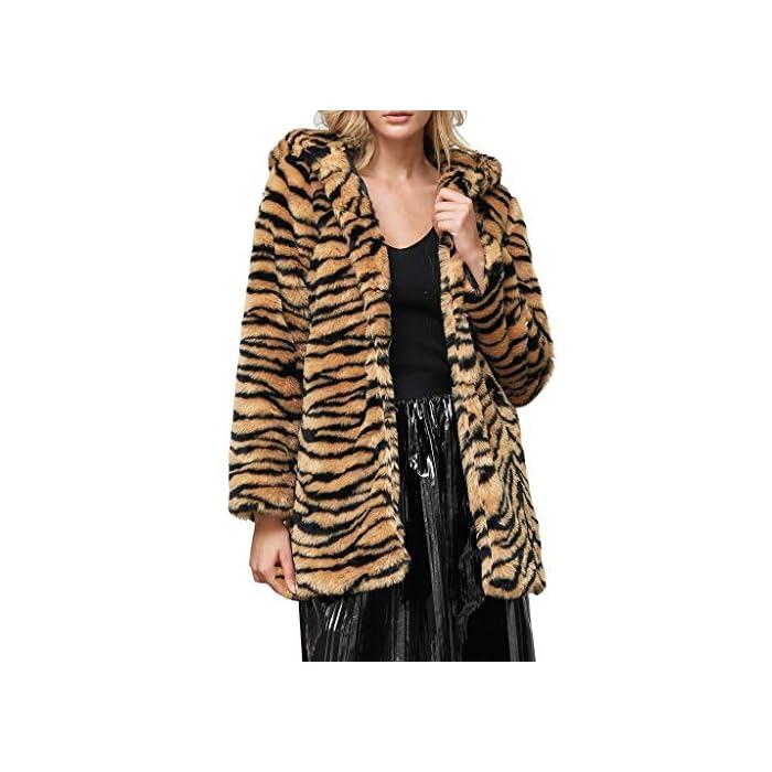 URSING Wool Coat Damen Mantel Revers Faux Für Lose Leopardenmuster Print Langarm Outwear Tasche Reißverschluss…