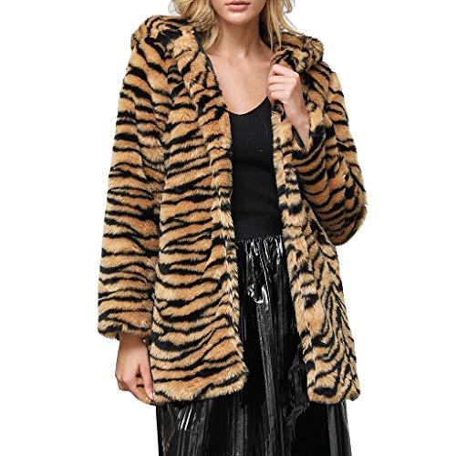Haughtily Damenmode Leopard gedruckt Kunstpelz Outwear Strickjacke lose mit Kapuze Tasche Mantel Patchwork Langarm lose Jacke -