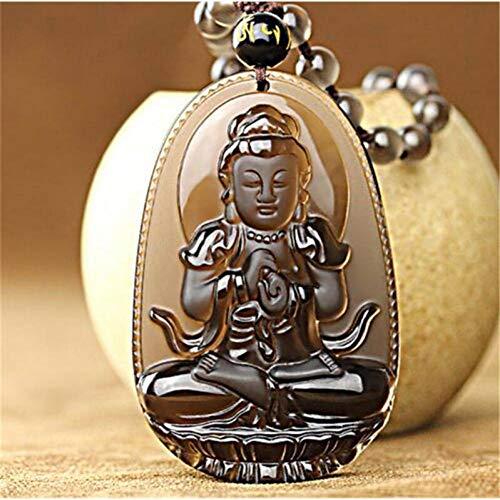 BGRHF Obsidiana De Hielo Natural Tallado Buda Amuleto De La SuerteCollar Colgante Cristal De Humo Mujeres Hombres Joyería Curación Reiki Regalo