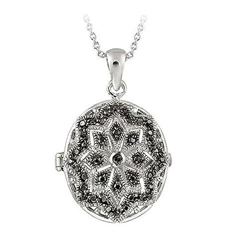 Sterling Silver Black Diamond Accent Filigree Oval Locket Necklace