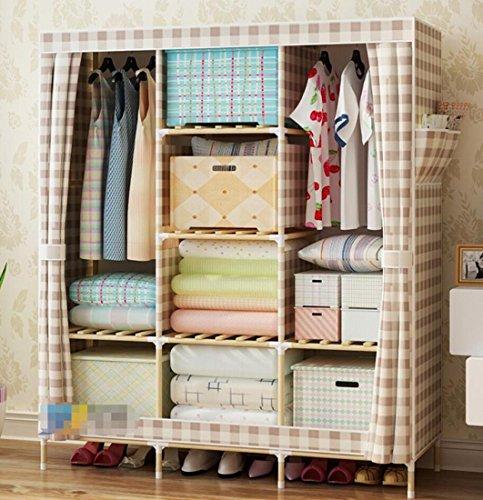 GL&G Kleiderschrank Schrank tragbare Oxford Tuch freie stehende Lagerung Organizer Lagerung & Organisation Home finishing – Portable, abnehmbare und solide Holz leichte Kleidung Schrank,K,52'' *67''