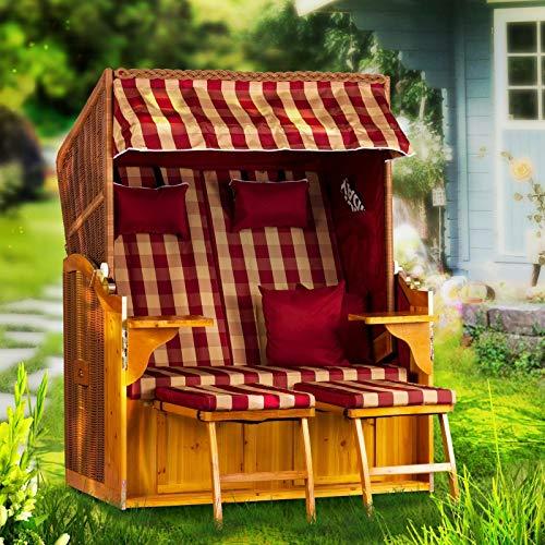 Strandkorb Ostsee Deluxe XXL Volllieger 2 Sitzer - 127 cm Burgund zerlegt inklusive Schutzhülle, ideal für Garten und Terrasse