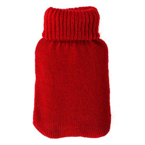 Bütic GmbH Taschenwärmer + Strickbezug - Blanko - Wärmflasche Handwärmer Wärmepad Firebag, Farbe:Rot