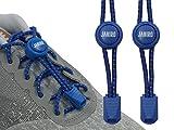 JANIRO Elastische Schnürsenkel mit Schnellverschluss – Schnellschnürsystem für Schuhbänder ohne binden - Kinder & Erwachsene (Blau reflektierend)