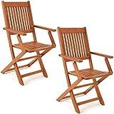 Deuba Set de 2 sillas 'Sydney' plegables de madera de acacia pre aceitada conjunto de jardín con reposabrazos terraza