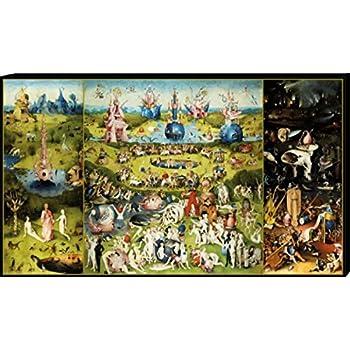 30x40 cm Bild auf Leinwand Premium Leinwandbild auf Keilrahmen Alte Meister//Museum Gem/älde J/üngstes Gericht Triptychon Hieronymus Bosch Wand-Bild Foto Kunst