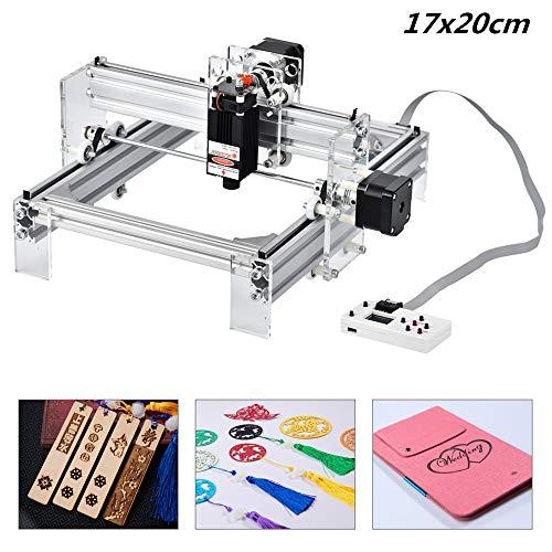 HUKOER Kit de bricolaje de máquina de grabado láser de 17 x 20 cm, kits de grabado láser CNC con controlador fuera de línea Cortador de madera de escritorio para madera, etc. (2500 mw)