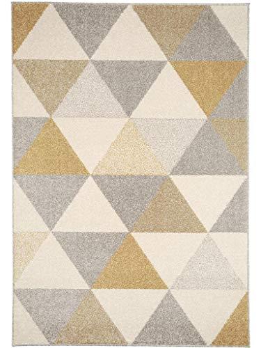 benuta Teppich Pastel Geomet Gelb 120x170 cm | Moderner Teppich für Wohn- und Schlafzimmer -