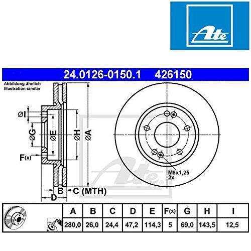 Preisvergleich Produktbild ATE 24.0126-0150.1 Bremsscheibe - (Paar)
