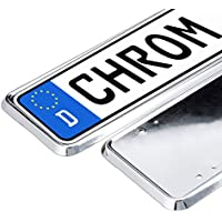 Relaxdays 10023865 Number Plate Holder Set of 2 Chrome Number Plate Holder EU Standard for Car Number Plates Silver preiswert