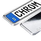 Relaxdays 10023865 Kennzeichenhalter 2er Set Chrome, Nummernschildhalterung, EU-Standard, f. Kfz-Kennzeichen, Autozeichen. Silber