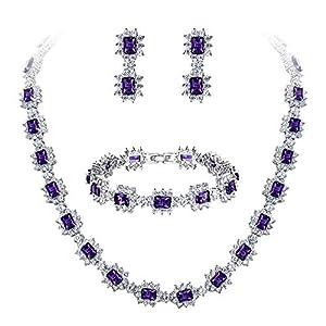 Clearine Damen Hochzeit Braut CZ Multi Emerald Cut Halo Kragen Halskette Tennis Armband baumeln Ohrringe Set