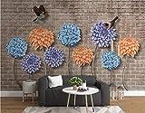Papier Peint 3d Mur De Brique Brun Abstrait Violet Bleu Orange Orange Hortensia Papier Peints Intissé Décoration Murale Home Decor Art 150cm×105cm