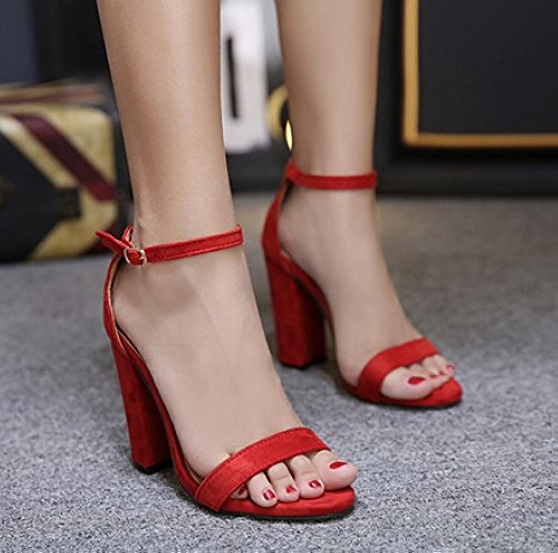 57c3a717321119 SHOESHAOGE Simple Velvet With Thick Heels And High High High Heel Shoes  With The Toe Red Sandals 11Cm Women S Shoes B0753LTZN8 Parent 87b87f