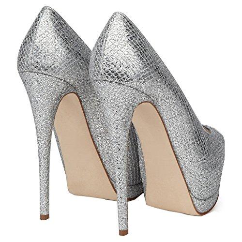ENMAYER Femmes en Cuir Verni Plateforme Peep Toe Stiletto Haut Talon Robe de Soirée de Mariage Pumps Court Shoes Argent