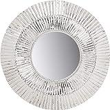Kare Design Spiegel Mercury Ø115cm, großer Wandspiegel silber, Schminkspiegel mit Silberrahmen, ausgefallener Flurspiegel, Silbergrau Aluminium vernickelt (H/B/T)115x115x8cm