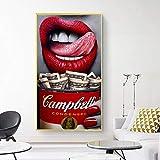 XWArtpic Zitat Poster Red Lip Frau Essen Geld Pommes Dollar Druckölgemälde Leinwand Bild Wohnzimmer Bar Büro Wohnkultur 50 * 90 cm